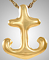 Gold Plated Anchor Cremation Keepsake Pendant Urn