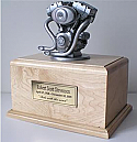 Motorcycle Silver Engine Horizontal Cremation Urn