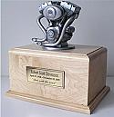 Motorcycle Silver Engine Horizontal Cremation Urn
