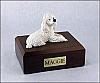 Poodle, White Laying Dog Figurine Cremation Urn