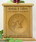 Hummingbird Relief Carved Wood Cremation Urn