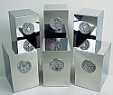 Polished Steel Pewter Military Medallion Cremation Urn