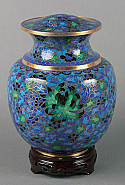 Royal Palace Blue Cloisonne Cremation Urn