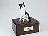 Border Collie White-Bronze Sitting Dog Figurine Cremation Urn