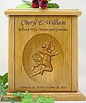 Cherub Relief Carved Wood Cremation Urn