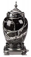 A Royal Black Marble Cremation Urn with Pewter Accents