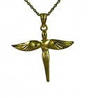Gold fairy cross pendant urn