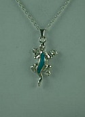 Lizard turquoise Cremation Urn pendant