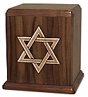 Star of David Inlay Walnut Cremation Urn