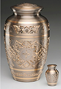 Adult Platinum and Gold Brass Cremation Urn