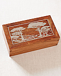 Hardwood Cremation Urn with Silver Inlay Monterey Pines