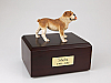 Bulldog White-Peru Standing Dog Figurine Cremation Urn