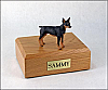 Miniature Pincher, Black-Tan Dog Figurine Cremation Urn