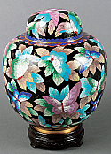 Small Butterflies in Flight Cloisonne Cremation Urn