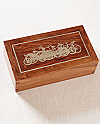 Hardwood Cremation Urn with Silver Inlay Bicycles