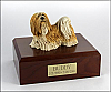 Lhasa Apso Yellow/white Standing Dog Figurine Cremation Urn