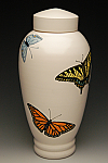 Hand Painted Butterfly Cremation Urn