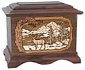 Deer Wooden Cremation Urn