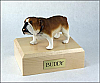 Bulldog White-SaddleBrown Standing Dog Figurine Cremation Urn