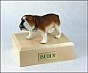 Bulldog White-SaddleBrown Standing Dog Figurine Cremation Urn