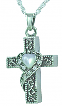 Cross with heart mother of pearl pendant Cremation Urn