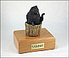 Pomeranian, Black In Bucket Dog Figurine Cremation Urn