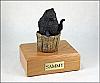 Pomeranian, Black In Bucket Dog Figurine Cremation Urn
