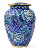 Traditional Blue Floral Cloisonne Cremation Urn