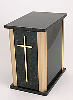 Black Granite Cremation Urn with Gold Trim