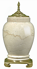 Large Botticino Marble Cremation Urn with Satin Flemish Accents