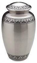 Adult Etched Leaf Brass Cremation Urn Pewter Finish