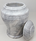 White Carrera Marble Cremation Urn