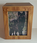 Wooden Pet Photo Cremation Urn Natural Color