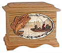 Wood Boat Fishing Cremation Urn
