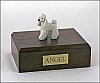 Poodle, White Standing Dog Figurine Cremation Urn