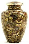 Golden Butterfly Cloisonne Cremation Urn