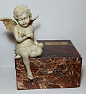 Ruby Marble Cremation Urn with Angel Keepsake