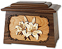 White Lily Solid Wood Cremation Urn