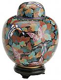 Butterfly Garden Cloisonne Cremation Urn