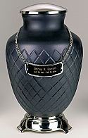 Silver and Black Glass Cremation Urn