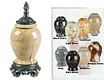 Marble Keepsake Cremation Urns With Pewter