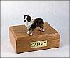 Australian Shepherd Brn/W Standing Dog Figurine Cremation Urn