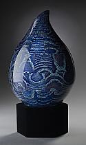 Blue Teardrop Wood Cremation Urn