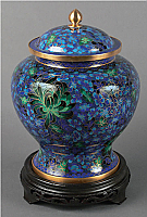 Hong Kong Blue Cloisonne Cremation Urn