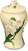 Hand Painted Lilies Cremation Urn