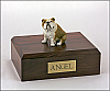 Bulldog  Fawn White-Dark Khaki Sitting Dog Figurine Cremation Urn
