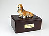 Basset Hound Yellow-White Sitting Dog Figurine Cremation Urn