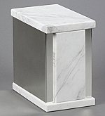 White Marble Single Cremation Urn with Trim