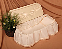 "Small Dog or Cat 20"" Casket with Rose-Tan Skirt"
