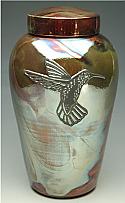 Hummingbird Raku Ceramic Cremation Urn